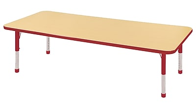 """30""""x72"""" Rectangular T-Mold Activity Table, Maple/Red/Chunky"""
