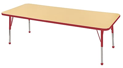 "30""x72"" Rectangular T-Mold Activity Table, Maple/Red/Toddler Ball"