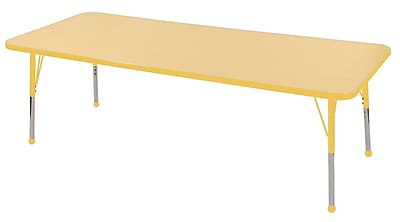 "30""x72"" Rectangular T-Mold Activity Table, Maple/Yellow/Toddler Ball"