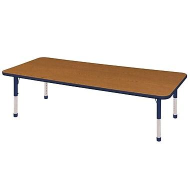 "30""x72"" Rectangular T-Mold Activity Table, Oak/Navy/Chunky"