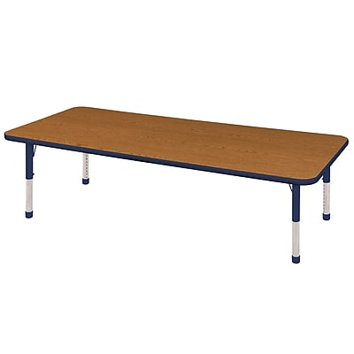 "30""x72"" Rectangular T-Mold Activity Table, Oak/Navy/Chunky"