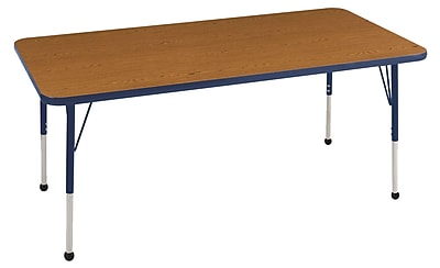 "30""x72"" Rectangular T-Mold Activity Table, Oak/Navy/Standard Ball"