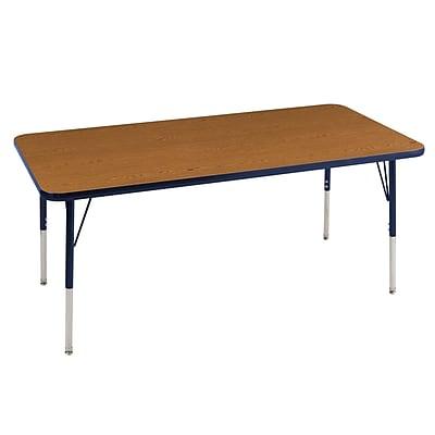 "30""x72"" Rectangular T-Mold Activity Table, Oak/Navy/Standard Swivel"