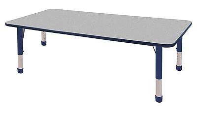 "36""x72"" Rectangular T-Mold Activity Table, Grey/Navy/Chunky"