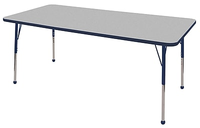 "36""x72"" Rectangular T-Mold Activity Table, Grey/Navy/Standard Ball"