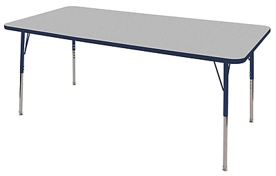 "36""x72"" Rectangular T-Mold Activity Table, Grey/Navy/Standard Swivel"