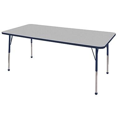 "36""x72"" Rectangular T-Mold Activity Table, Grey/Navy/Toddler Ball"
