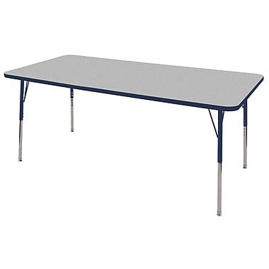 "36""x72"" Rectangular T-Mold Activity Table, Grey/Navy/Toddler Swivel"