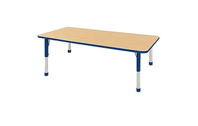 "36""x72"" Rectangular T-Mold Activity Table, Maple/Blue/Chunky"