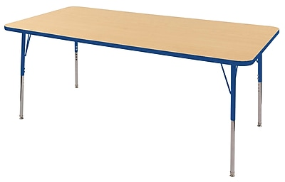 "36""x72"" Rectangular T-Mold Activity Table, Maple/Blue/Standard Swivel"