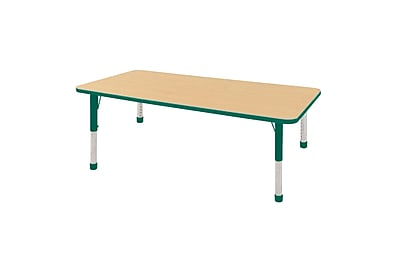 "36""x72"" Rectangular T-Mold Activity Table, Maple/Green/Chunky"