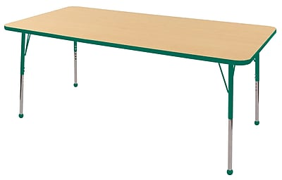 "36""x72"" Rectangular T-Mold Activity Table, Maple/Green/Standard Ball"