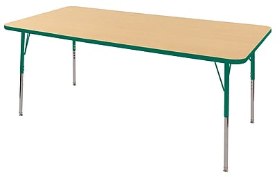 "36""x72"" Rectangular T-Mold Activity Table, Maple/Green/Toddler Swivel"
