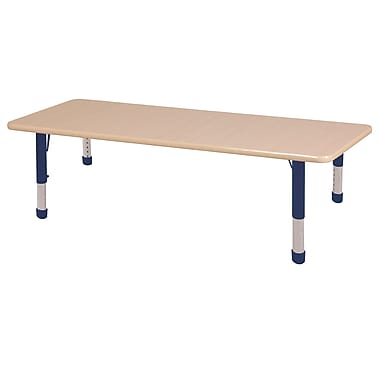 "36""x72"" Rectangular T-Mold Activity Table, Maple/Maple/Navy/Chunky"