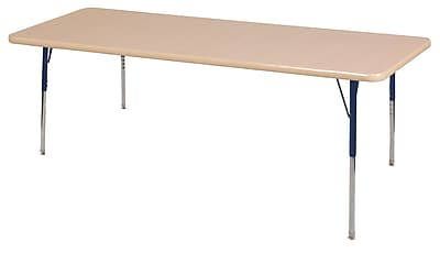 "36""x72"" Rectangular T-Mold Activity Table, Maple/Maple/Navy/Standard Swivel"