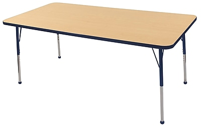 "36""x72"" Rectangular T-Mold Activity Table, Maple/Navy/Toddler Ball"