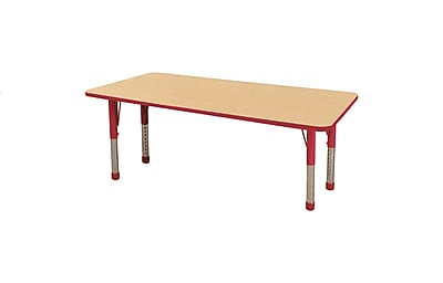 """36""""x72"""" Rectangular T-Mold Activity Table, Maple/Red/Chunky"""