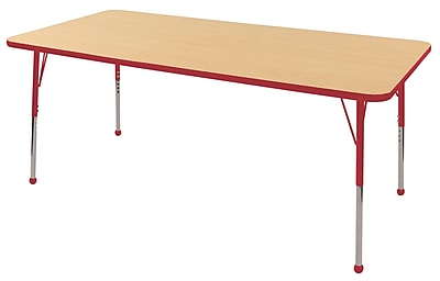"36""x72"" Rectangular T-Mold Activity Table, Maple/Red/Toddler Ball"