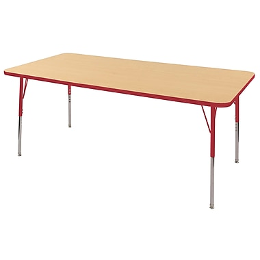 "36""x72"" Rectangular T-Mold Activity Table, Maple/Red/Toddler Swivel"