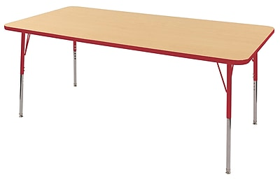 """36""""x72"""" Rectangular T-Mold Activity Table, Maple/Red/Toddler Swivel"""