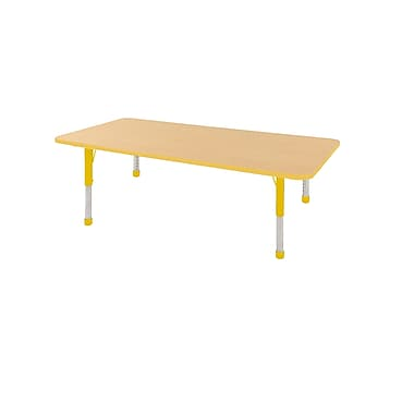 "36""x72"" Rectangular T-Mold Activity Table, Maple/Yellow/Chunky"