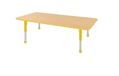 "36""x72"" Rectangular T-Mold Activity Table, Maple/Yellow/Chunky"