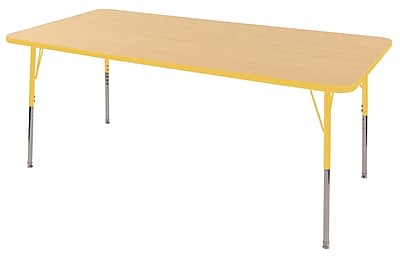 "36""x72"" Rectangular T-Mold Activity Table, Maple/Yellow/Standard Swivel"