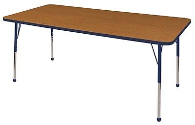 "36""x72"" Rectangular T-Mold Activity Table, Oak/Navy/Standard Ball"