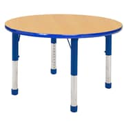ECR4kids Chunky Legs 30'' Round Table, Maple/Blue (ELR-14121-MBL-C)