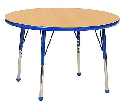 """30"""" Round T-Mold Activity Table, Maple/Blue/Toddler Ball"""