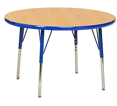 "36"" Round T-Mold Activity Table, Maple/Blue/Standard Swivel"