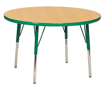 "36"" Round T-Mold Activity Table, Maple/Green/Toddler Swivel"