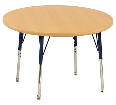 "30"" Round T-Mold Activity Table, Maple/Maple/Navy/Toddler Swivel"