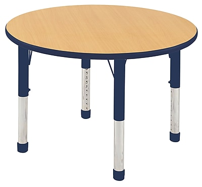"36"" Round T-Mold Activity Table, Maple/Navy/Chunky"