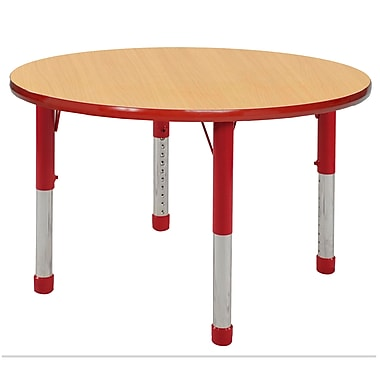 """36"""" Round T-Mold Activity Table, Maple/Red/Chunky"""