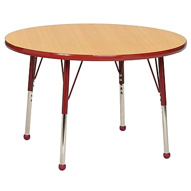 "30"" Round T-Mold Activity Table, Maple/Red/Standard Ball"