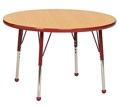 "30"" Round T-Mold Activity Table, Maple/Red/Toddler Ball"