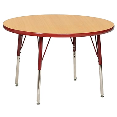 "30"" Round T-Mold Activity Table, Maple/Red/Standard Swivel"