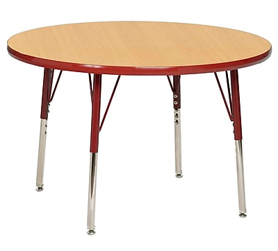 "36"" Round T-Mold Activity Table, Maple/Red/Standard Swivel"