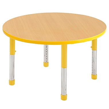 """36"""" Round T-Mold Activity Table, Maple/Yellow/Chunky"""