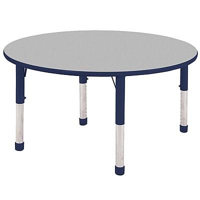 """48"""" Round T-Mold Activity Table, Grey/Navy/Chunky"""