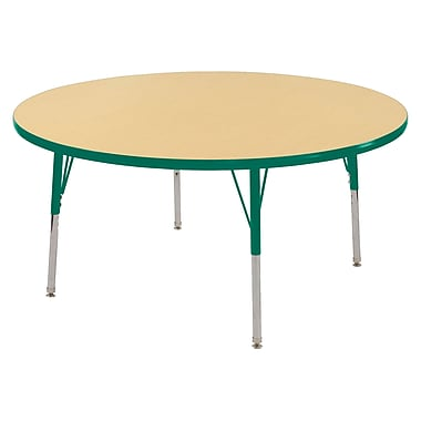 """48"""" Round T-Mold Activity Table, Maple/Green/Toddler Swivel"""