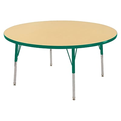 "48"" Round T-Mold Activity Table, Maple/Green/Standard Swivel"
