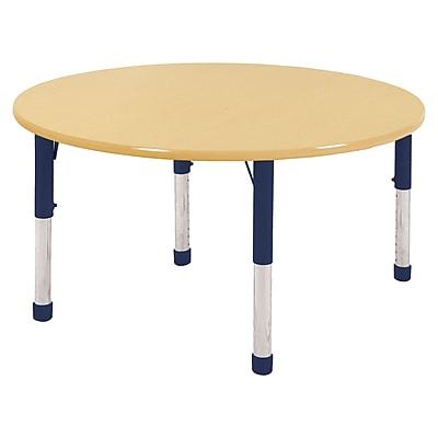 "48"" Round T-Mold Activity Table, Maple/Maple/Navy/Chunky"