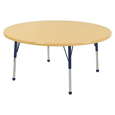"48"" Round T-Mold Activity Table, Maple/Maple/Navy/Toddler Ball"