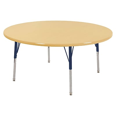 "48"" Round T-Mold Activity Table, Maple/Maple/Navy/Standard Swivel"