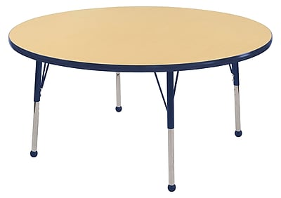 "48"" Round T-Mold Activity Table, Maple/Navy/Toddler Ball"