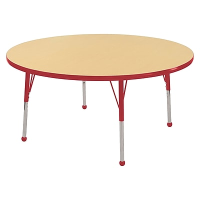 "48"" Round T-Mold Activity Table, Maple/Red/Standard Ball"