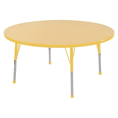 """48"""" Round T-Mold Activity Table, Maple/Yellow/Toddler Ball"""