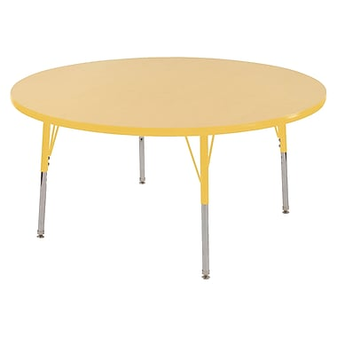 """48"""" Round T-Mold Activity Table, Maple/Yellow/Toddler Swivel"""